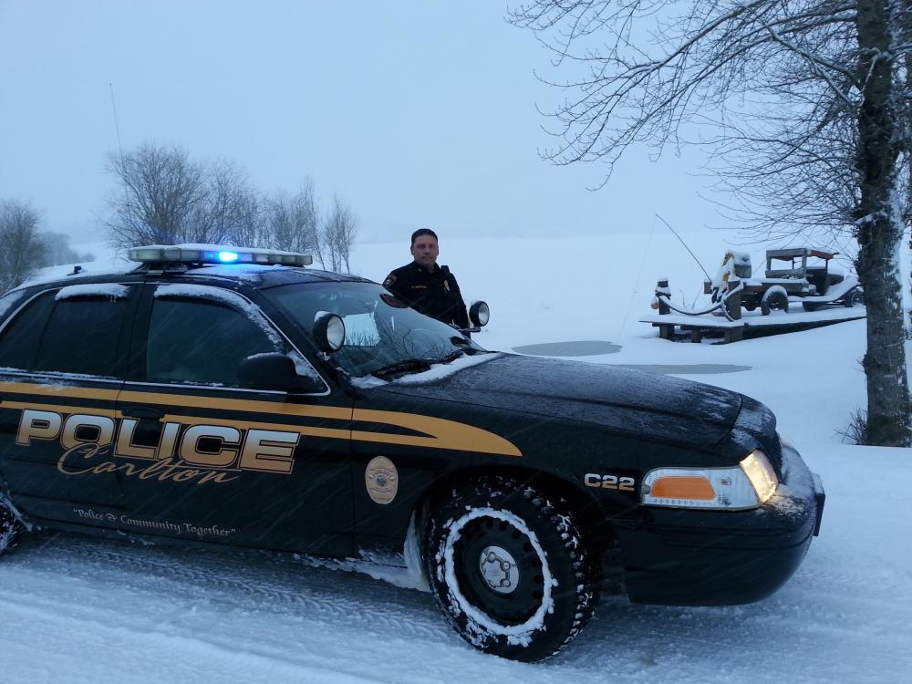 Carlton Police Car In Snow